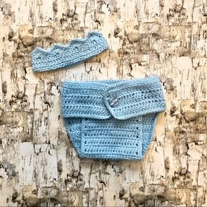 Crocheted Baby Crown & Diaper Cover Set